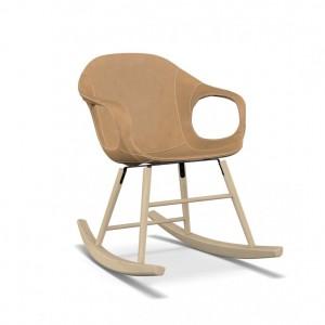 KRISTALIA Schaukelsessel Elephant chair Sitzschale Leder beige Schaukelgestell buche