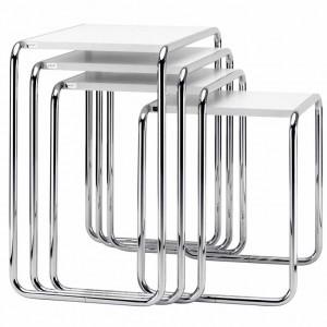 THONET Viersatztisch B9 Chrom/weiß