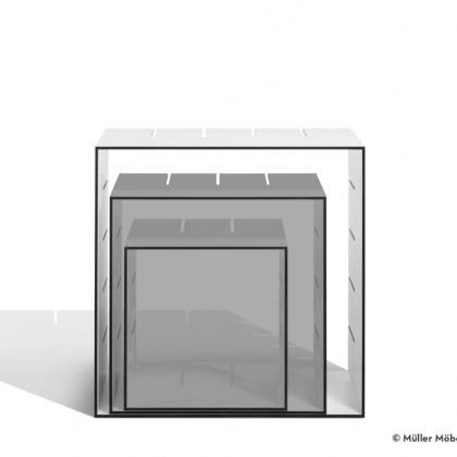 MÜLLER MÖBELWERKSTÄTTEN Standregal Konnex Einzelbox groß HPL weiß/schwarz