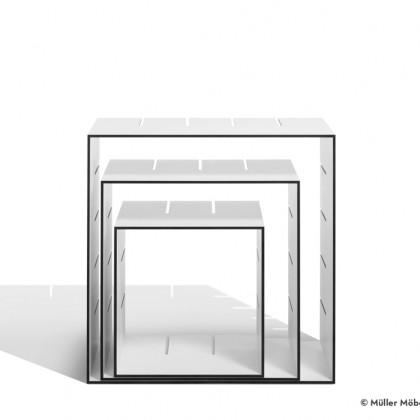 MÜLLER MÖBELWERKSTÄTTEN Standregal Konnex 3er-Set HPL weiß/schwarz