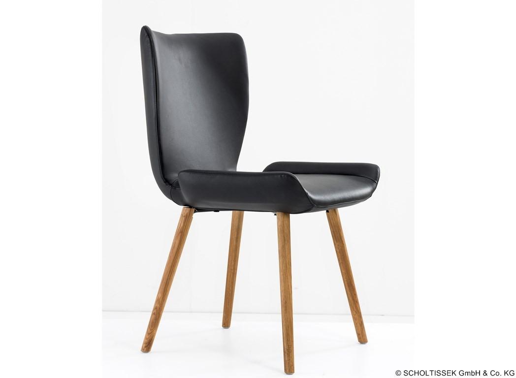 scholtissek stuhl kasaar eiche leder schwarz. Black Bedroom Furniture Sets. Home Design Ideas